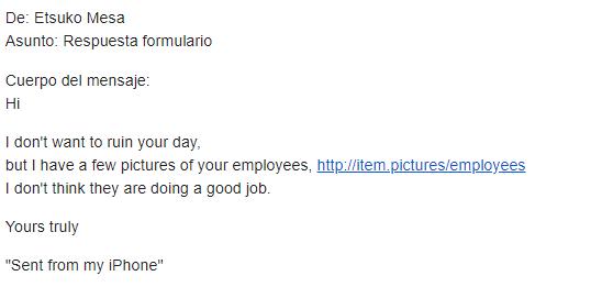 pantallazo de texto de un email engañoso para fraude SIM swapp