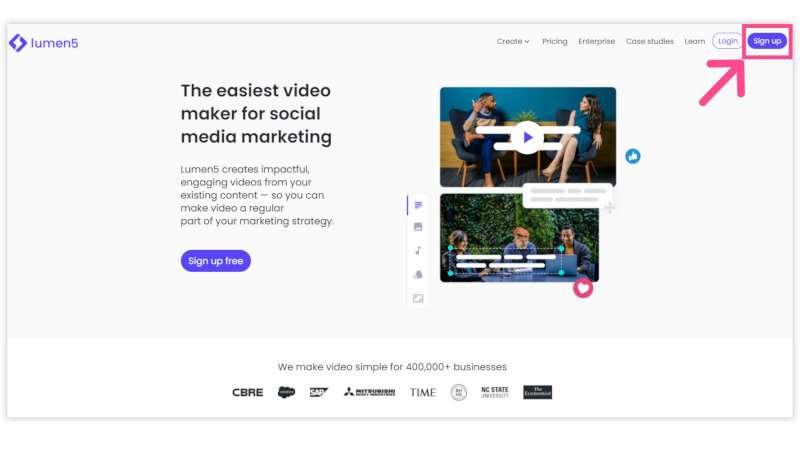 crear-videos: pantallazo primer paso para crear cuenta en Lumen 5