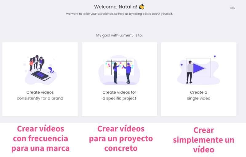 crear-videos-con-lumen-5:  pantallazo con los diferentes usos que se le puede dar a la herramienta