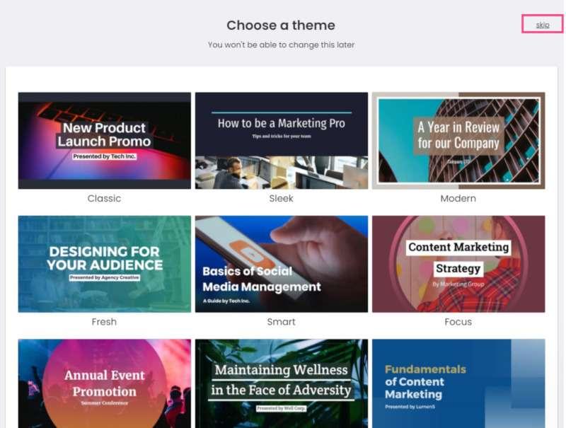 """crear vídeos con lumen: pantallazo en """"elegir plantilla"""""""