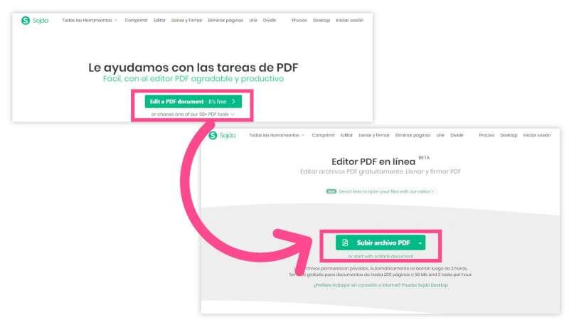 inicio editar PDF con SEJDA