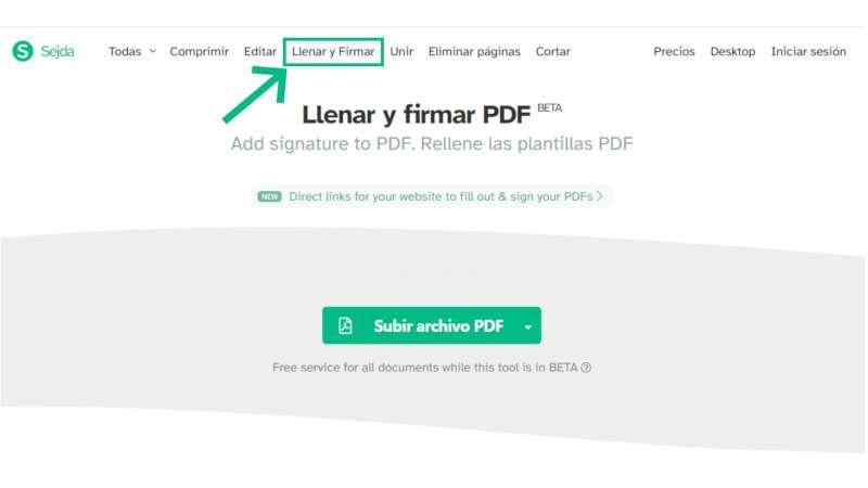 pantallazo de la aplicación de firma de PDF