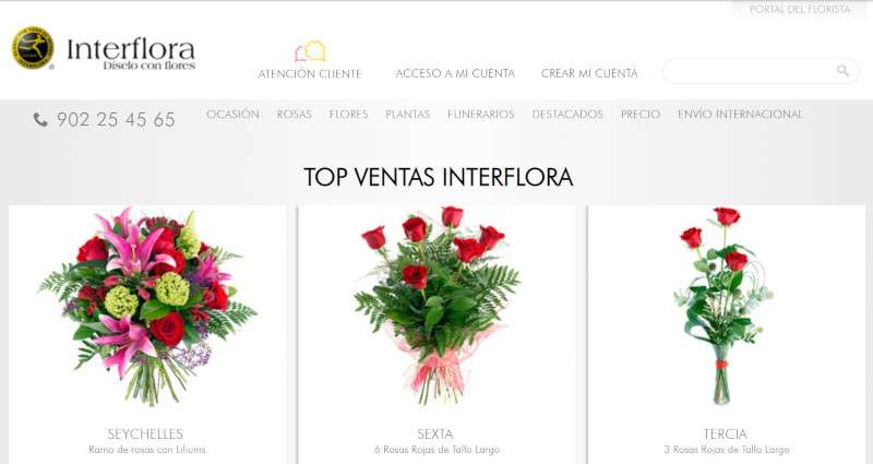 pantallazo de la versión antigua de la web de interflora, antes de aplicar UX writing