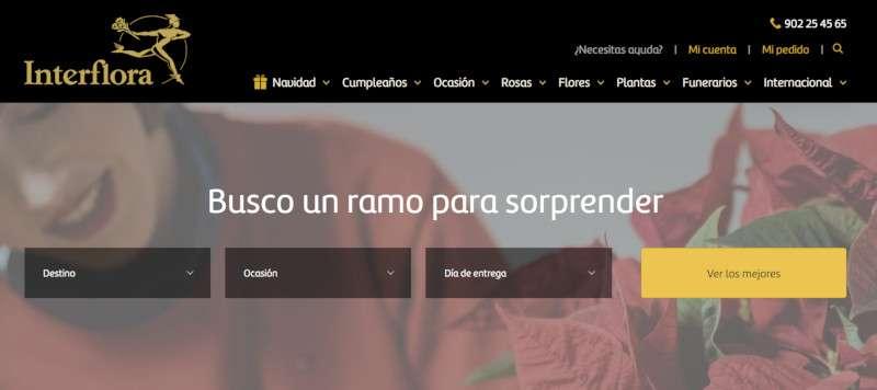 pantallazo de la versión actual de la web de interflora, con UX Writing aplicado