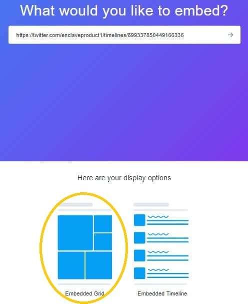 mostrar tuits -embeber-grid